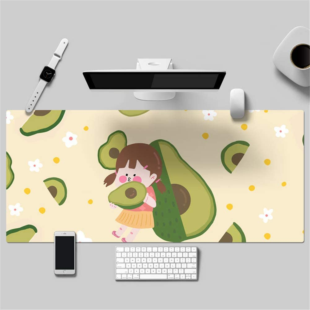 10) LL-COEUR Lovely Girl Cartoon Fruit Japanese Leather Mouse Pad Gaming Keyboard Mat Waterproof Table Mat Thickness 2mm (900 x 450 x 2 mm