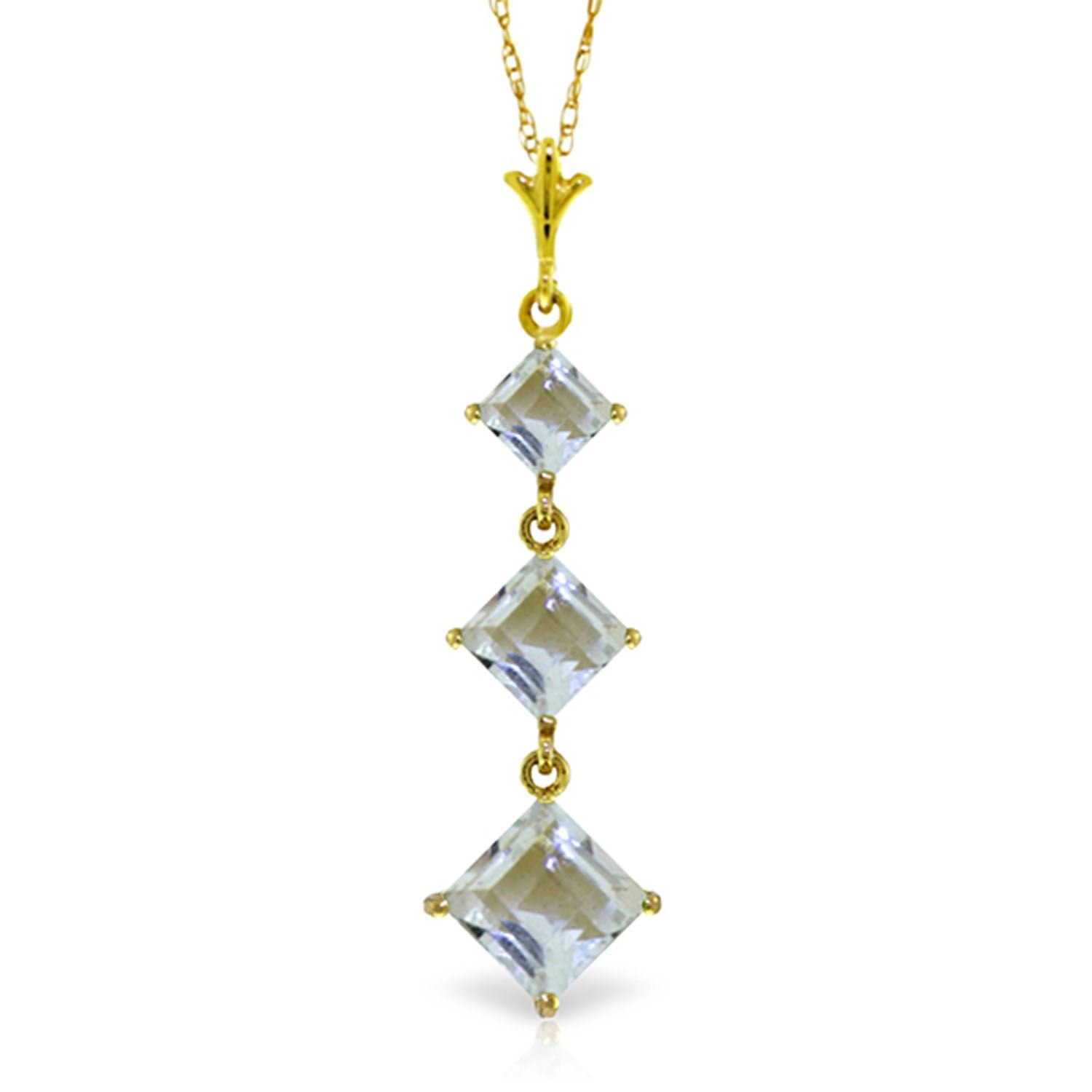 ALARRI 2.4 CTW 14K Solid Gold Love Lock Aquamarine Necklace with 18 Inch Chain Length