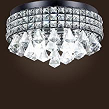 SwanHouse Crystal Chandelier Flush Mount Light Fixture Pendant Ceiling Lighting Modern Lamp 4 Lights CAD-KTM/X-4L-W14 BK