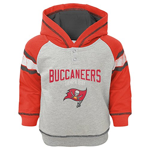 Outerstuff NFL Infant Classic Stripe French Terry Pullover Hoodie-Heather Grey-18 Months, Tampa Bay Buccaneers