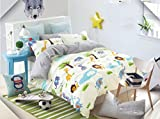 Cliab Kids Forest Animal Print Bedding Full Size Lion Elephant Giraffe Duvet Cover Set 100% Cotton 7 Pieces