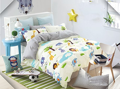 Cliab Kids Forest Animal Print Bedding Full Size Lion Elephant Giraffe Duvet Cover Set 100% Cotton 7 Pieces by Cliab
