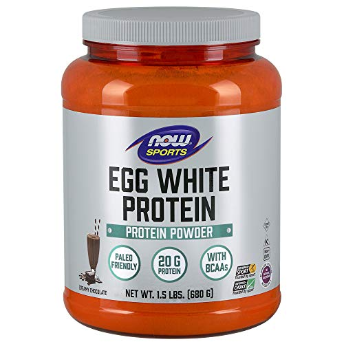 Now Sports Nutrition, Egg White Protein, Creamy Chocolate Powder, 1.5-Pound