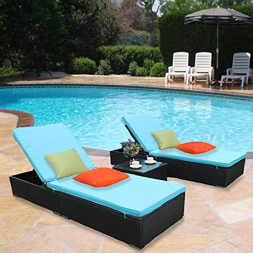 HTTH 3 Pieces Outdoor Patio Chaise Lounge Adjustable All Weather Outdoor Patio Garden Pool Conversation Chair Table Set Furniture with Thick Cushion Steel Frame 9339-EXP Blue