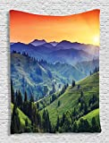 Ambesonne Country Decor Collection, Sunset in the Mountains Landscape and European Countryside Picture Print, Bedroom Living Girls Boys Room Dorm Accessories Wall Hanging Tapestry, Orange Green Blue