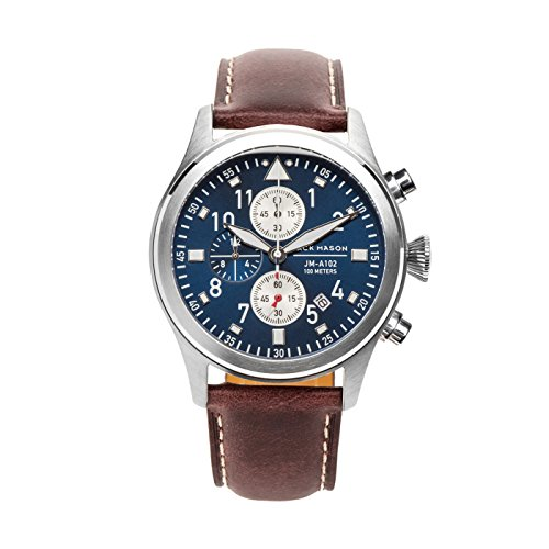 Jack Mason Men's Chronograph Watch Aviator Brown Italian Leather Strap JM-A102-107
