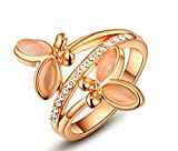 AmDxD Jewelry Gold Plated Women Engagement Rings Rose Gold Double Butterfly CZ Size 6