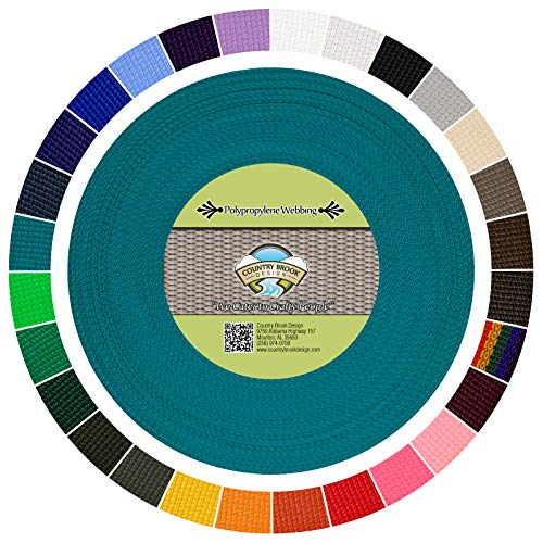 Country Brook Design 1-Inch Polypropylene Webbing, 100-Yard, Turquoise