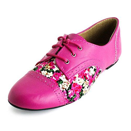 Femmes Lacets Florales Plates Chaussures Oxford (adultes) Rose Vif