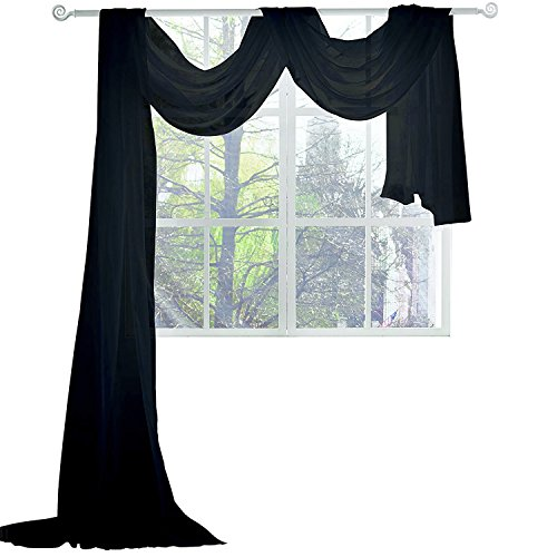 KEQIAOSUOCAI Black Sheer Window Scarf 216 Inches Long Window Sheer Black Scarves for Home Decor 52W x 216 L (Valance Scarf Black Sheer)