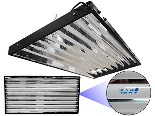 Yield Lab 54w T5 Eight Bulb Fluorescent Grow Light Panel (6400K) - Hydroponic, Aeroponic, Horticulture Growing Equipment