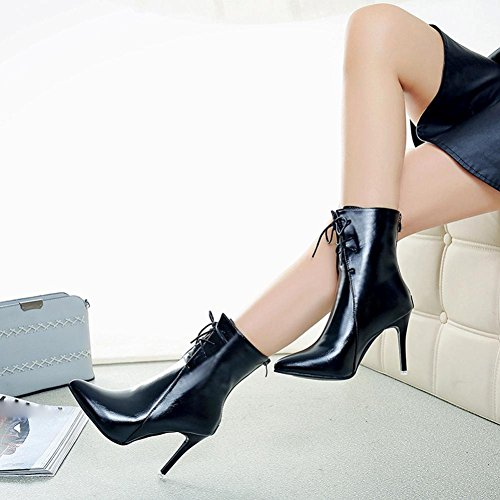 Womens High-heeled Shoes,Sikye Women Gladiator Pumps Boots Pointed Toe Lace-Up Shoe for Wedding Party Black