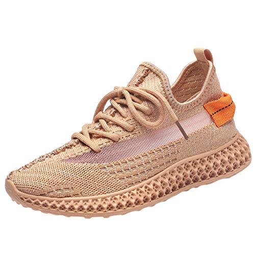 Men Women Running Shoes Breathable Sports Trainers Shock Absorbing Shoes Closed Toe Lace-up Sneakers for Gym Fitness Orange