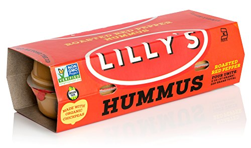 - Lilly's Hummus - Hand-Made Small Batch Roasted Red Pepper Hummus, Gluten Free, Vegan, Kosher, Non-GMO, Made with Organic Chickpeas, 2 oz Cups, 16 Count