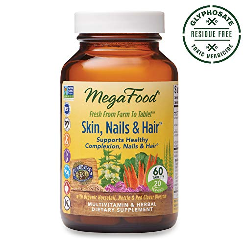MegaFood, Skin, Nails & Hair, Supports Healthy Complexion, Nails & Hair, Multivitamin & Herbal Dietary Supplement, Gluten Free, Vegan, 60 Tablets (20 Servings)