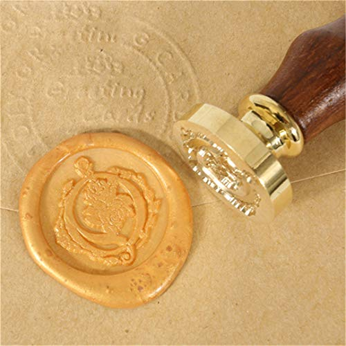 RESELWXST 1X Wooden Handle Rose Flower Pattern 26 Letters Alphabet Wax Badge Seal Stamp Wax Letter A-Z Valentine's Gift Pattern Q ()