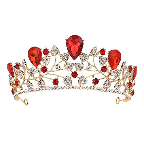 Gold Tiaras and Crowns for Women with Red Crystal Hair Jewelry Bridal Wedding Rhinestone Headband -