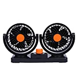 Vanpower 12v DC Fan Cooling Air Fan with Dual Heads 360 Degree Rotation Adjustable Design Powerful Electric Fan with 2 Rotatable Speed Fits for Truck Car (Black + Orange)