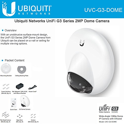Ubiquiti UniFi UVC-G3-DOME IP Video Camera G3 Dome Wide-Angle 1080p HD with Infrared