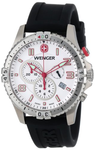 Strap Rubber Chrono (Wenger Men's 77050 Squadron Chrono White Dial Rubber Strap Watch)
