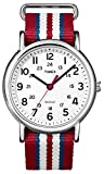 Timex Unisex T2N746 Weekender Slip Thru Red, White & Blue Stripe Nylon Strap Watch