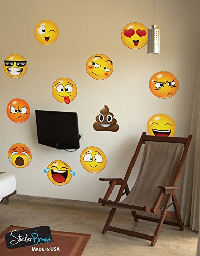 12 Large Emoji Faces Wall Graphic Decal Sticker #6052-6x6 (6 Inches In Size). Reusable Smiley Emojis Similar To Iphone / Android Keyboard - Face Text Sunglasses
