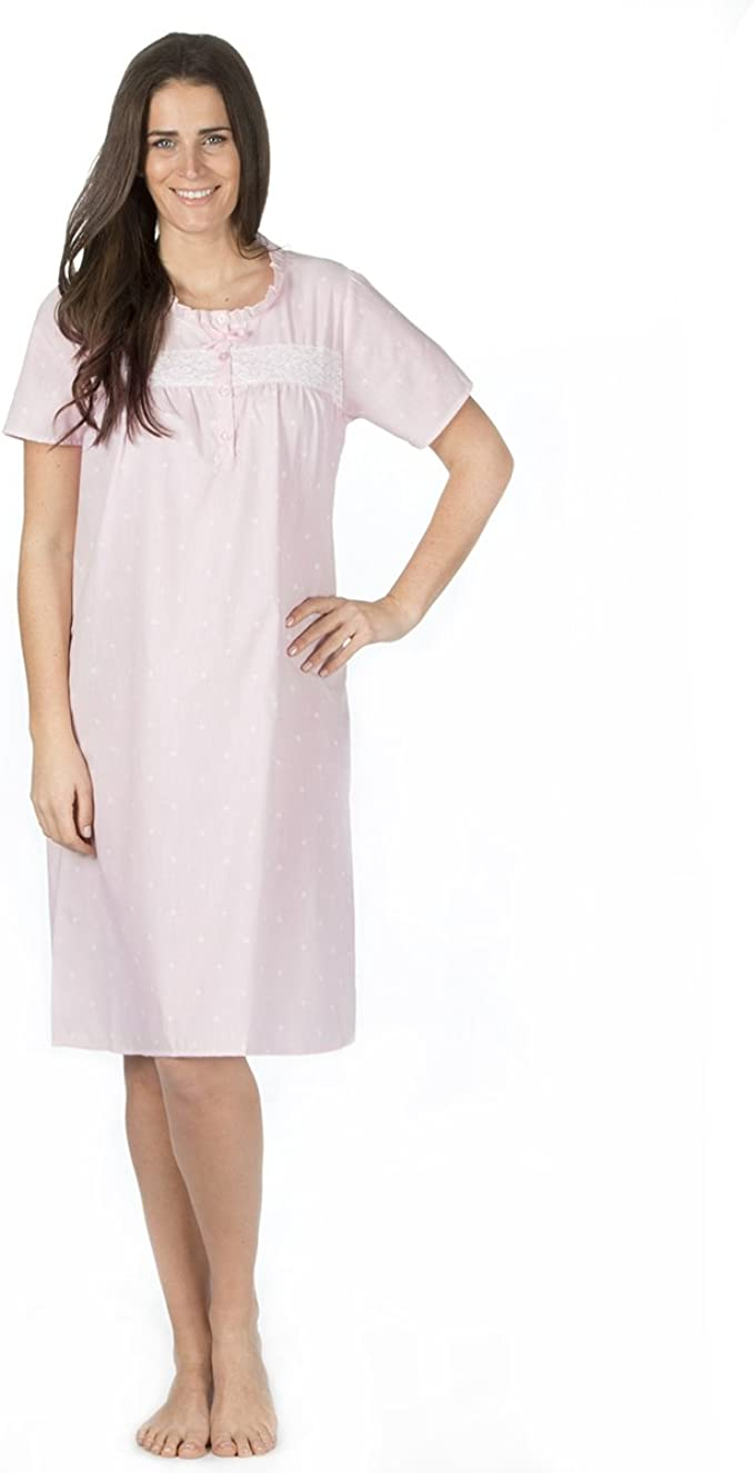 Ladies pink//white short sleeve nightdress size 18-20 only