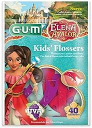Flosser Gum Elena De Avalor, Fio Dental Infantil Com Haste, Sabor Uva, 40 Unid., Gum, Sortidas