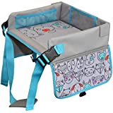 Kids Travel Lap Tray - Premium Quality Material - Activity Play & Snack Toddler Organizer Desk- Secured Touchscreen Pockets for Media- Perfect for car Seats, Planes & Baby Strollers - by LillyCrafted