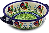 Polish Pottery Round Baker with Handles 6-inch (Country Rooster Theme) Signature UNIKAT