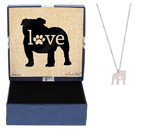 Bulldog Love Dog Breed Silhouette Dog Paw Heart Necklace Jewelry Bulldog Necklace Gift Bulldog Owner Idea A Rescue Dog Mom ()