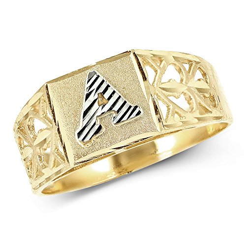 LoveBling 10K Yellow Gold Diamond Cut Ladies Alphabet Initial Ring, Block Lettering (A, 6)