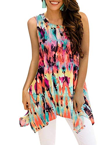 (Koscacy Dressy Tank Tops for Women, Ladies Irregular Scoop Neck Shirts Sleeveless Classy Trendy Shopping Mini Dresses Misses Flared Tie Dye Tunics Popular Hawaiian Dating Zulily Blouses Multicolor M)