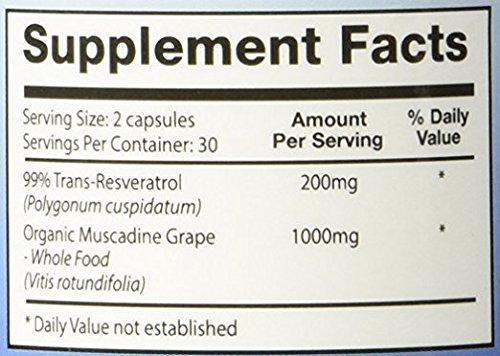 Perfect ResGrape Max, 60 vegetable capsules per bottle(Pack of 3) ~ 99% Trans-Resveratrol & Muscadine Grape ~ Anti-Aging Supplement & Potent Antioxidant