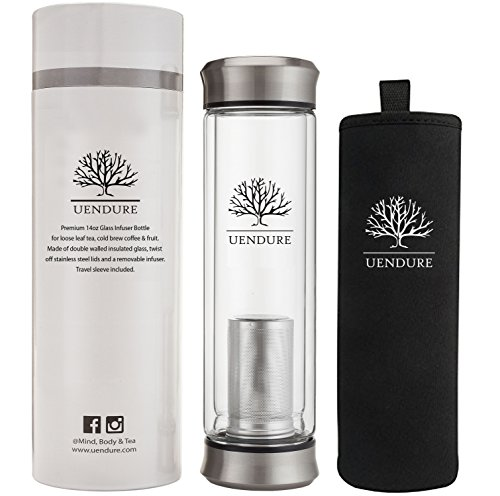 Glass Tea Infuser Travel Mug with Strainer | 14oz Tea Tumbler Bottle for Loose Leaf Tea, Matcha, Fruit and Cold Brew Coffee | BPA FREE Tea Cup with Stainless Steel Mesh Filter