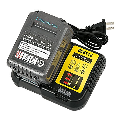 LiBatter 20V 6.0Ah Lithium Ion Battery with Charger kit Compatible Dewalt Tools