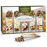 Tea Forté GARDEN HARVEST WHITE Single Steeps Organic White Tea Loose Leaf Tea Sampler, 15 Single Serve Pouches, Fresh Fruit and Herb Flavors