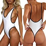 #5: ALLureLove Sexy Womens Monokini Deep V One Piece Backless Cheeky Swimwear Semi Thong Bikini
