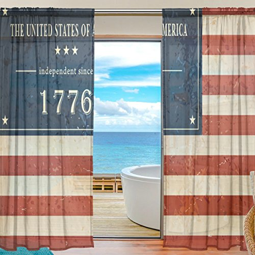 Happy 4Th Of July Patriotic Independence Day Window Sheer Curtain Panels, Christmas Decoration, Door Window Gauze Curtains Living Room Bedroom Kid Office Window Curtain 55x78 inch Two Panels - Sunglasses Rent Car A For