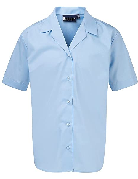 Zeco sold by Essential Wear Girls Ladies Pack of 2 White Blue Short Sleeve Blouse Shirt Chest 24-42