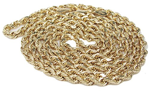 10K Yellow Gold Italian Rope Chain 20'' 2.5mm wide Hollow 3.2 Grams by Melano Creation