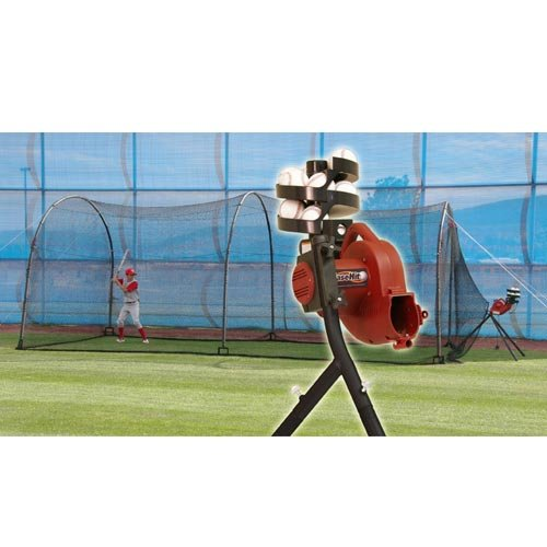BaseHit & Xtender 24 System – Real Ball Pitching Machine & 24' x 12' x 12' Home Batting Cage Combo
