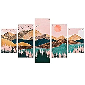 Mountain Painting Prints Wall Art, 5 Piece Frameless Nature Landscape Picture Mountain Wall Art Print, Sunset Forest…