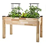 "raised planter box plans CedarCraft Elevated Cedar Planter (23"" X 49"" X 30"") - Grow Fresh Vegetables, Herb Gardens, Flowers & Succulents. Beautiful Raised Garden Bed for a Deck, Patio or Yard Gardening. No Tools Required."