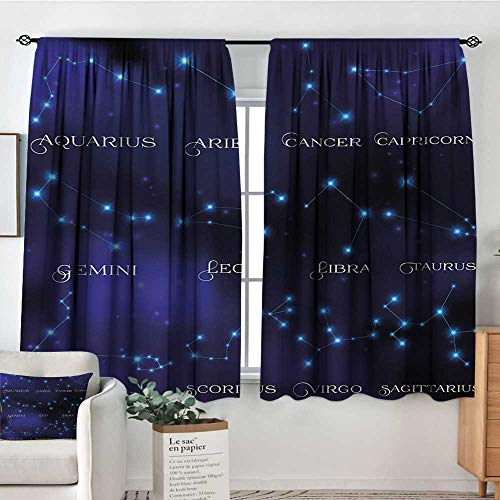 - Constellation Window Curtain Drape Dark Night Sky Star Groups of Zodiacal Circle Styled Letters Door Curtain Blackout 55