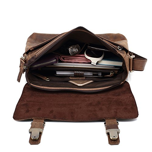 Genda 2Archer Borsa di Tracolla in Pazzo Cavallo Sacchetto del Computer Portatile di Viaggio Messaggero (33.5 cm* 9cm* 26 cm)