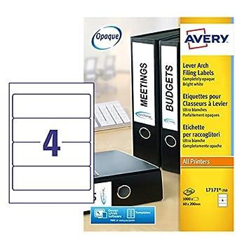 Avery L7171 - 250 Etiquetas de archivo de palanca, Para impresoras láser, de inyección de tinta, Permanent, 200 x 60 mm, color blanco: Amazon.es: Oficina y ...