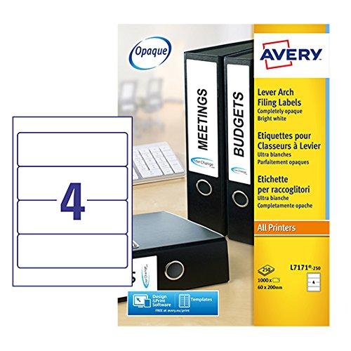 permanent 250/Aktenordner-Etiketten wei/ß f/ür Laser-//Tintenstrahldrucker Avery L7171 200/x 60/mm