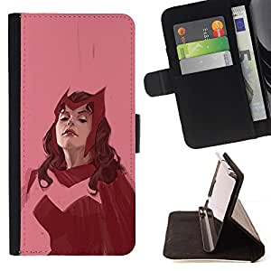 Momo Phone Case / Flip Funda de Cuero Case Cover - Femme Superhero Rose Vintage - Samsung Galaxy Note 5 5th N9200