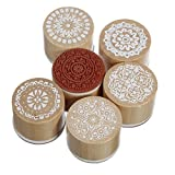 SODIAL(R) 6 Assorted Wooden Rubber Stamp Round Handwriting Floral Flower Craft